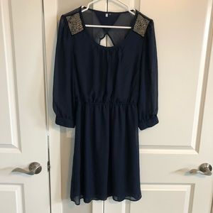 Navy blue Maurice's dress with embellishments